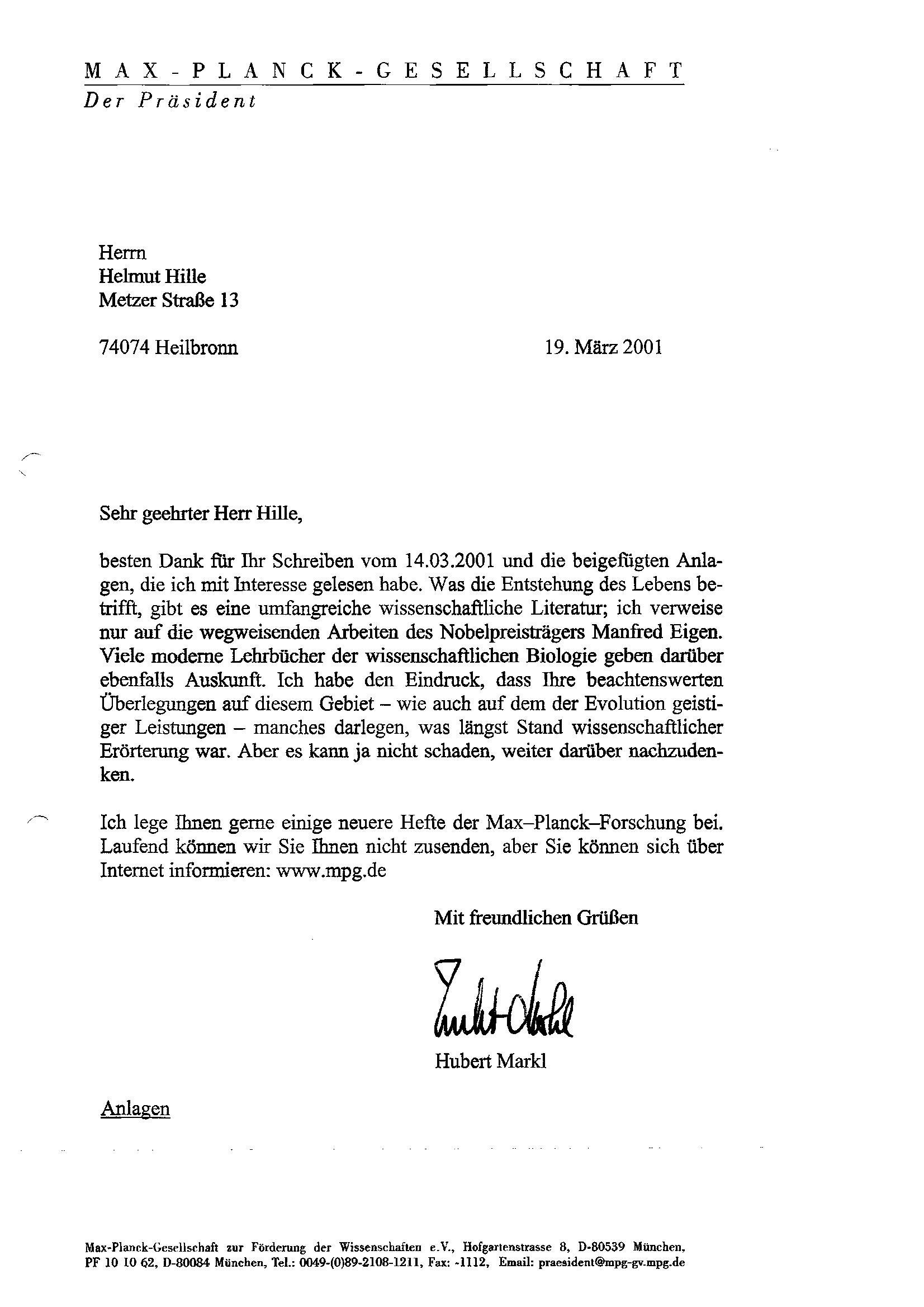 Briefe Mit Anlagen : Iii b zur person hubert markl und briefe von ihm